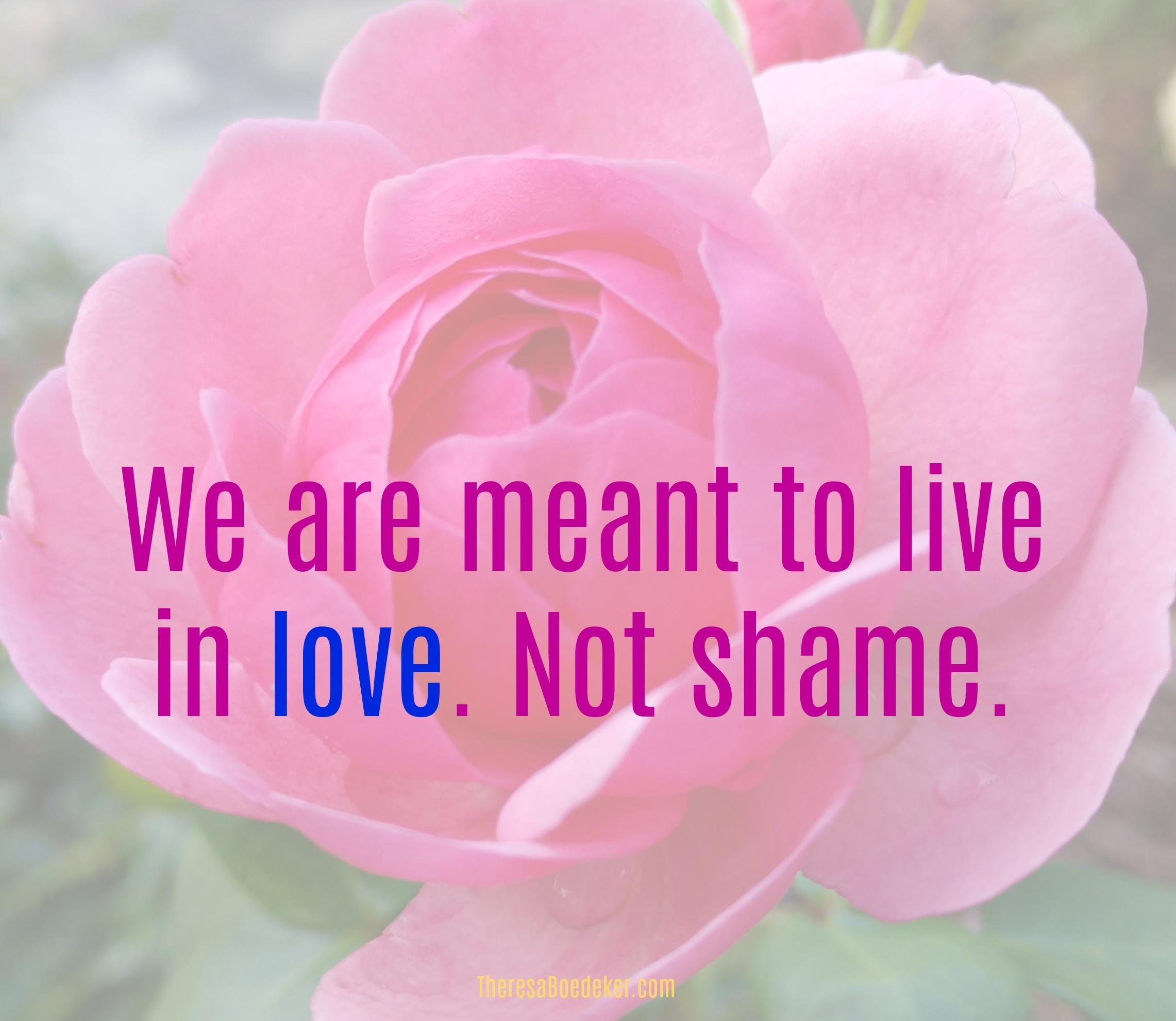 Shattering your feelings of unworthiness. Because you are not meant to live in shame.